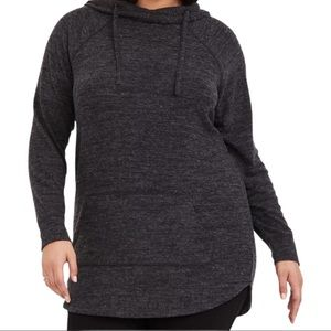 Torrid Super Soft Plush Black Tunic Hoodie Size 0X